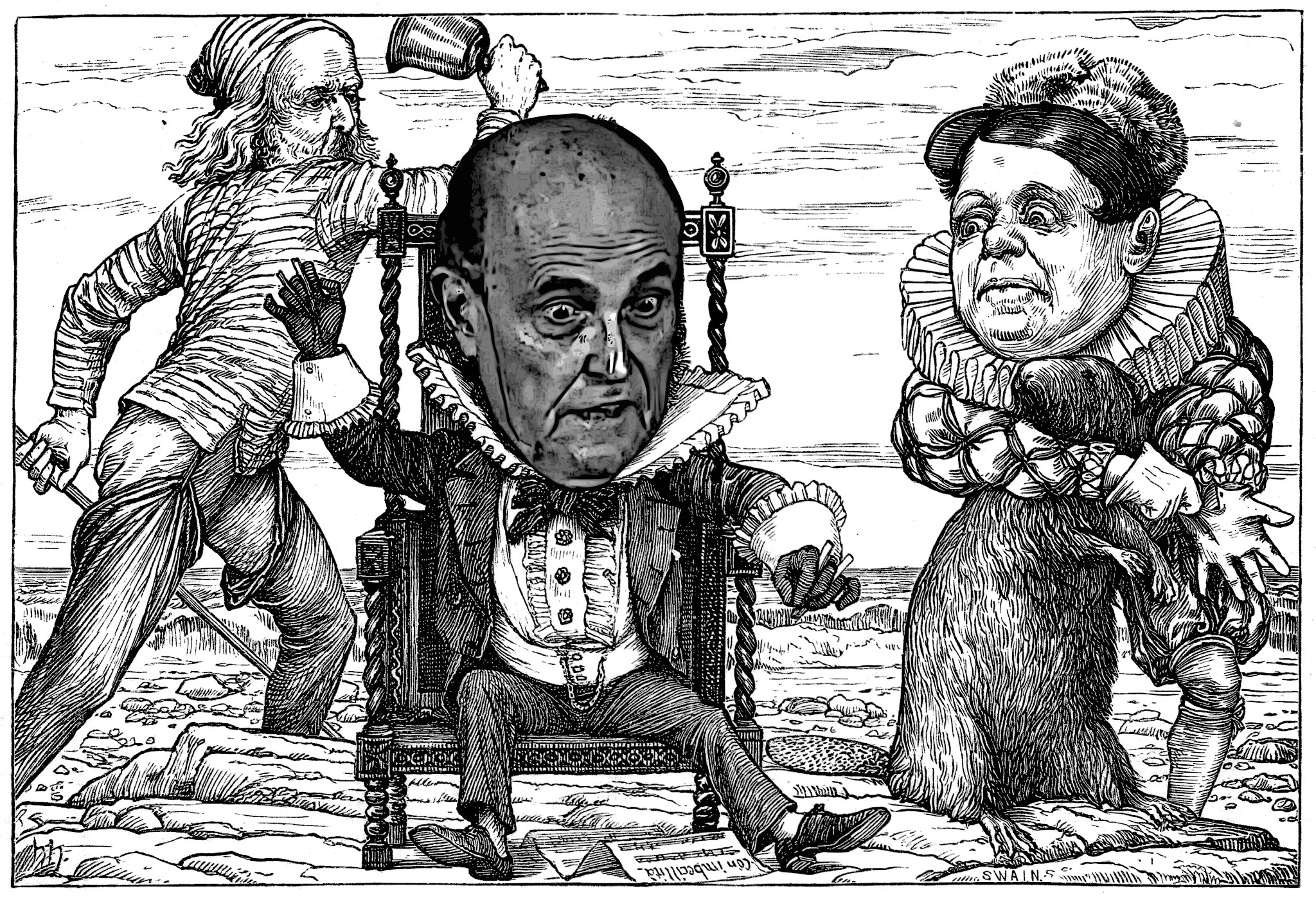 When Henry Holiday illustrated Lewis Carroll's 'The Hunting of the Snark' (1876), he used Lindsey Graham's face. I don't know, how he did that. As for Rudy Giuliani's head, I had to help a little bit.